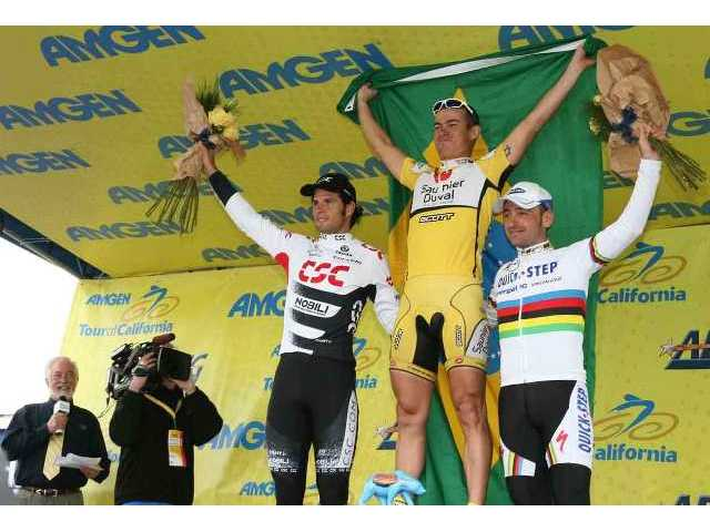 Amgen Tour of California 2008 Stage 6 winners in Santa Clarita: 1). Luciano Pagliarini (Brazil; Saunier Duval-Scott, Spain); 2). Juan Jose Haedo (Argentina; Team CSC, Denmark); and 3. Paolo Bettini (Italy; Quick Step, Belgium).