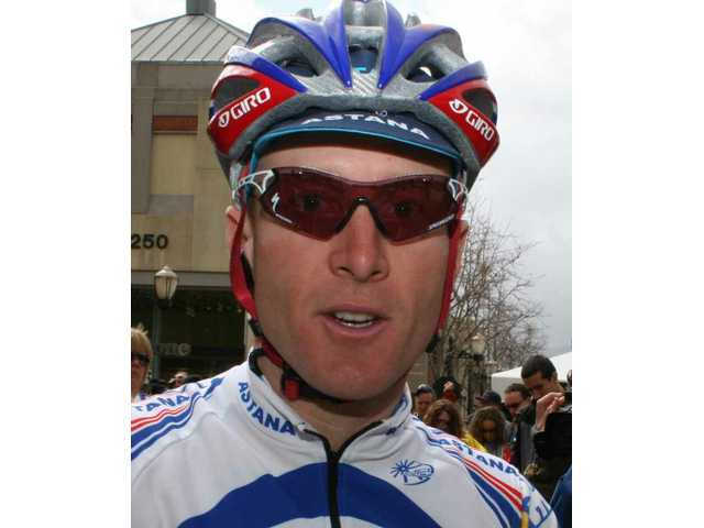Levi Leipheimer, winner of the 2008 Amgen Tour of California Cycle race, visited fans in Santa Clarita just before the start of Stage 7.