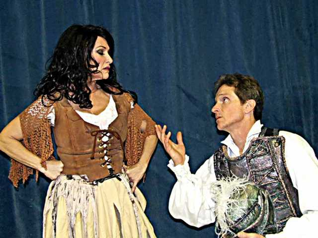 "James Horan as Don Quixote sings ""Dulcinea"" to Aldonza (Lori D'Itri) in ""Man of La Mancha,"" opening Saturday."