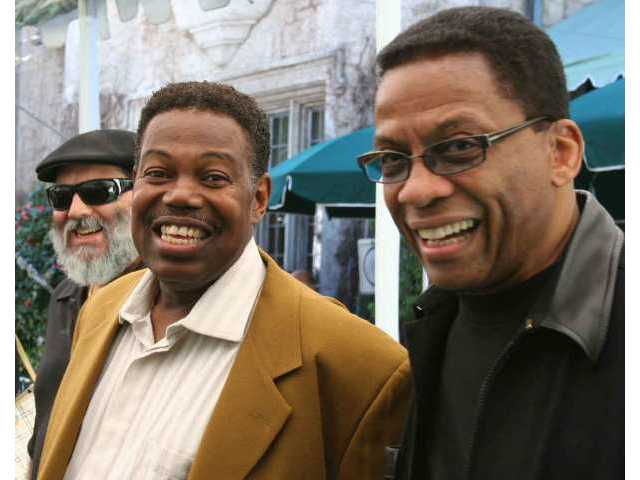Poncho Sanchez, Ndugu Chancler and Herbie Hancock have a large time at the Playboy Mansion Feb. 27, when the artist lineup for the June Playboy Jazz Festival was unveiled.