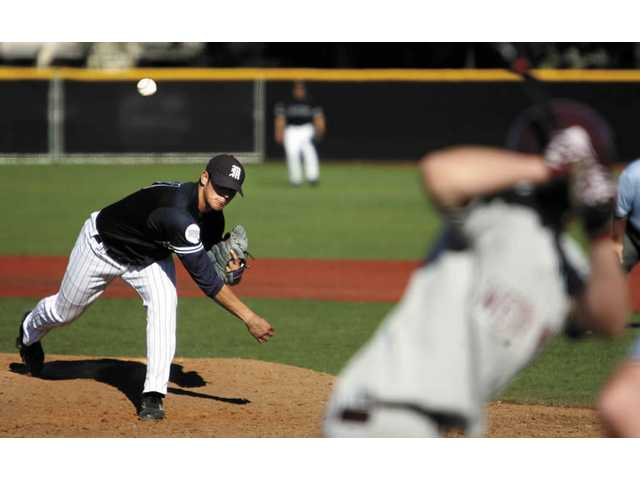 Ranulfo Grijalva throws a pitch on Wednesday against Westmont. The Mustangs lost at home and are now 5-3 in Golden State Athletic Conference play.