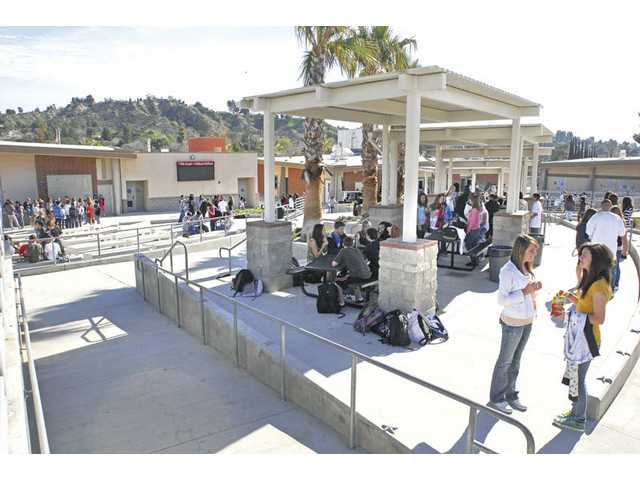 Students enjoy the new covered lunch area and amphitheater at Arroyo Seco Junior High School. The projects were funded by Measure V.