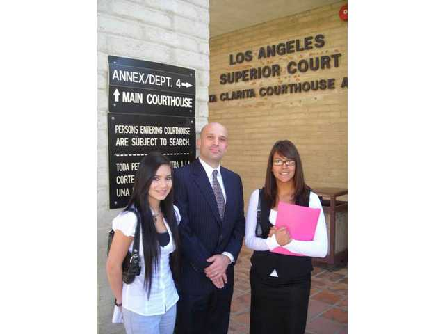 Karlie West, attorney Brian Koegle and Sarai Jimenez during Groundhog Job Shadowing Day at the Santa Clarita Courthouse, Feb. 4.