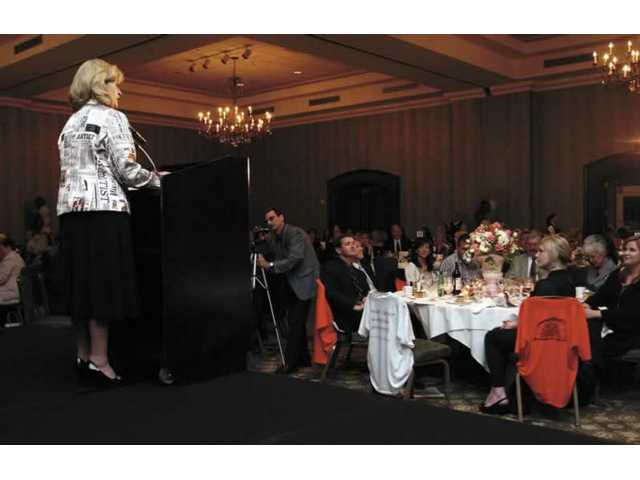 Marlee Laufer, Newhall Land's vice president of marketing and communications, introduces the 2007 nominees for Community Service at the 12th annual Newsmaker ceremonies Friday night at the Hilton Valencia. The winner: Jeanna Crawford.