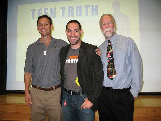 "From left to right, Steve Paterson, guidance coordinator for the anti-bully program, J.C. Pohl, ""Teen Truth"" program creator, and La Mesa Principal Pete Fries. Pohl visited La Mesa Junior High to inform the students on how they can help in the fight against teen bullying."