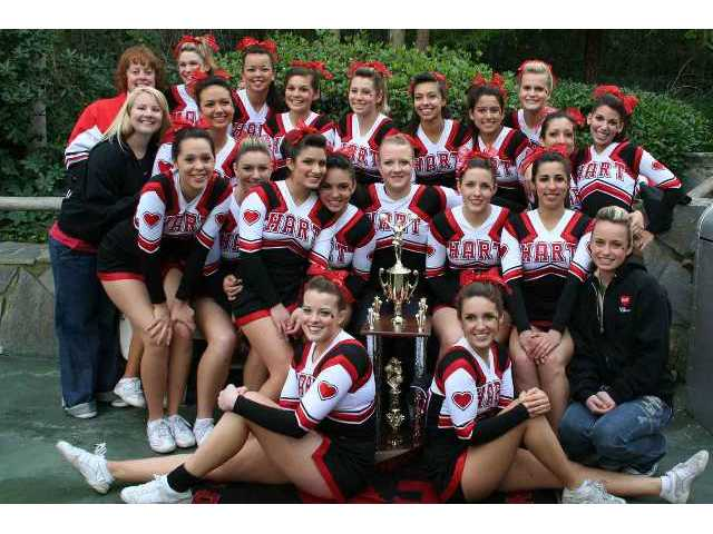 The Hart High School varsity cheerleading squad took first place in the California Cheerleading Championship held at Six Flags Magic Mountain Feb. 23. The victory marked the third straight year the squad has won the tournament.