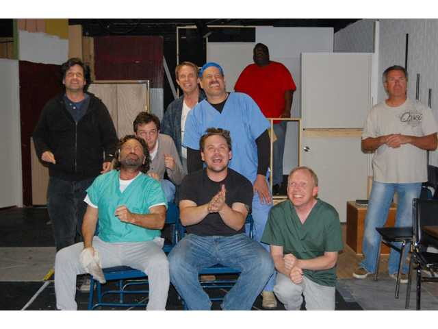 """Cuckoo's Nest"" actors, left to right, first row: Brad Sergi, Ovington Michael Owston and Skip Pipo. Back Row: Jeff Lucas, Anderson Reid, Jeff Harman, Michael Bruce, Gregor Manns and Dave Forster."
