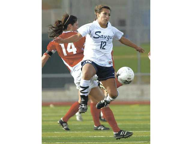 Saugus' Shannon Suarez (12) plays against Flintridge Sacred Heart on February 23.