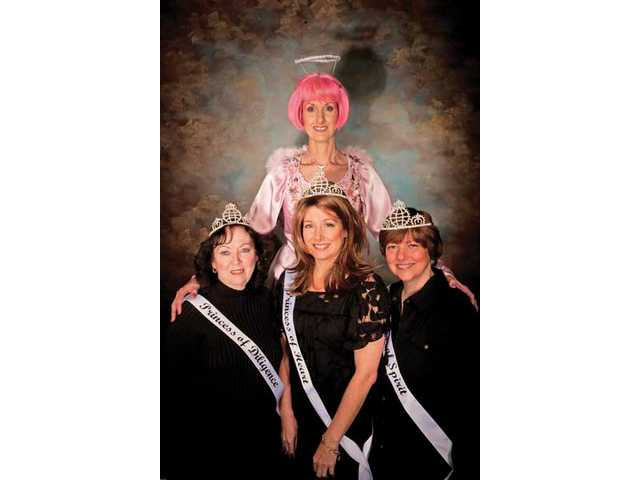 Colleen Shaffer (center, in pink) is the founder of Circle of Hope breast cancer support group in the Santa Clarita Valley. The 2010 Princesses of Hope, left to right, Princess of Diligence Dorothy Johnson, Princess of Heart Dina Bennett, Princess of Spirit Linda Ludwig.