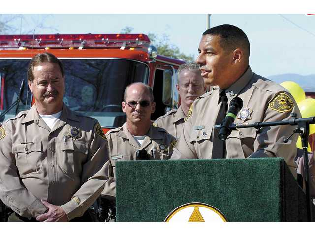 Capt. Anthony La Berge, of the Santa Clarita Valley Sheriff's Department station, speaks during the unveiling of the new Santa Clarita School Watch program.