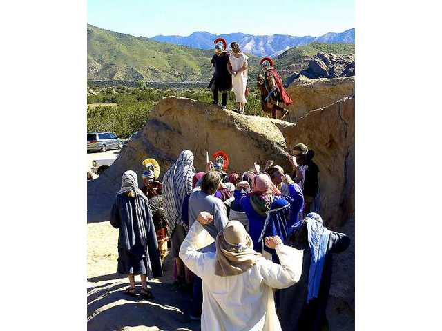 Actors at Vasquez Rocks recreate the trial of Jesus.