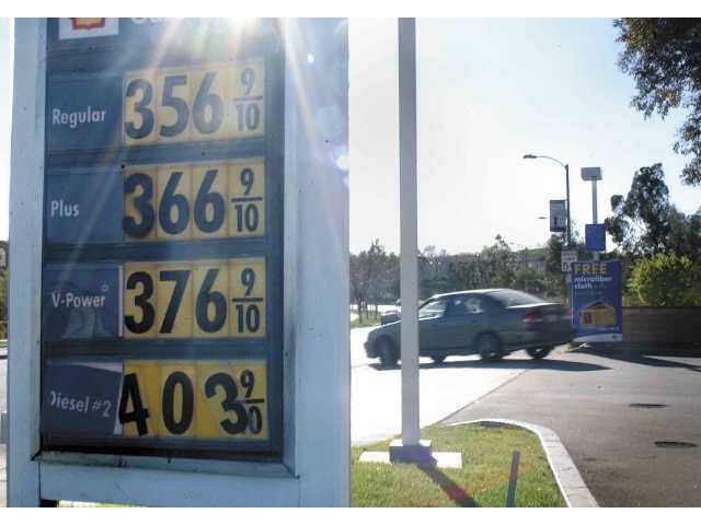 Gas prices averaged $3.55 a gallon Monday in the Santa Clarita Valley; the Shell station at McBean Parkway and Valencia Boulevard is a penny above average.