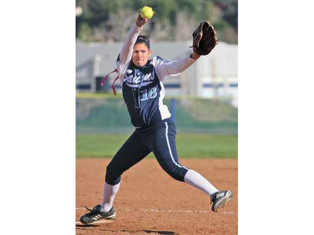 Saugus pitcher Kimmie Lockhart tossed a complete game against Stockdale at Saugus High School on Tuesday afternoon and the Centurions won 6-4.