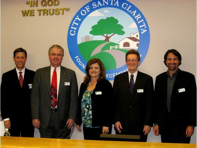 The Santa Clarita Arts Commissioners, from left to right: John Dow, Michael W. Millar, Sandra Fisher, Paul Strickland and Eric Schmidt.