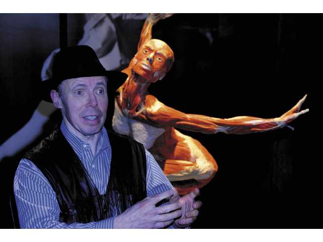 "Dr. Gunther von Hagens, 63, a German scientist who invented ""plastination,"" discusses the bodies on exhibit at ""Body Worlds 3, currently on display at the California Science Center in Los Angeles. A controversial anatomist who performs public dissections, Dr. von Hagens was born in Western Poland in 1945. A hemophiliac as a child, hit lot in life inspired him to study human anatomy. He developed the Body Worlds exhibit in 1995, and shows numerous cadavers plasinated in various poses and dissected to various degrees."