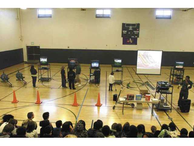 Sierra Vista students tested equipment they hope to purchase from its annual fitness fundraising drive onday morning.