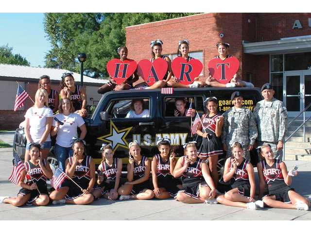 The Hart High School cheerleaders closed out the Cell Phones for Soldiers Drive in February, collecting 439 cell phones this year, which was the best turnout in its three-year history.