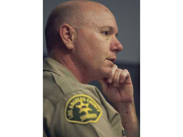 Incoming Santa Clarita Sheriff Capt. Paul Becker reflects while meeting with reporters at The Signal newspaper offices on Wednesday.
