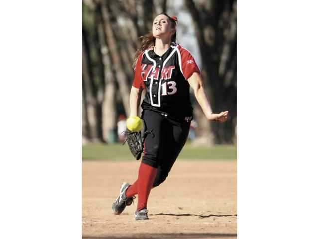 Destiny Rodino delivers a pitch in the fourth inning of Hart's 17-0 win over Chaminade Tuesday.