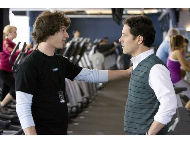 "Andy Samberg, left, and Paul Rudd, right, are shown in the ""bromance"" film ""I Love You, Man."""