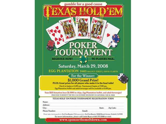 Here's the flyer for the March 29 Texas Hold'Em tourney, a fundraiser for the May 10 Summer Meltdown concert being produced by the students in the Hart district's Yes I Can program.