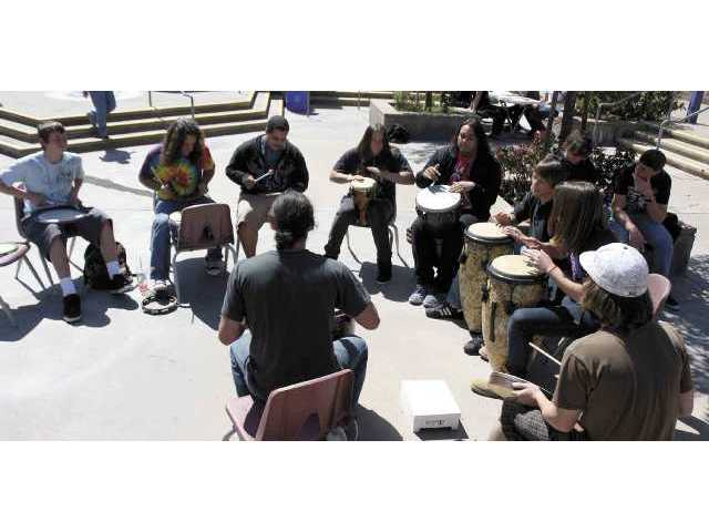 Bowman High School held its weekly drum circle Thursday afternoon during lunch.