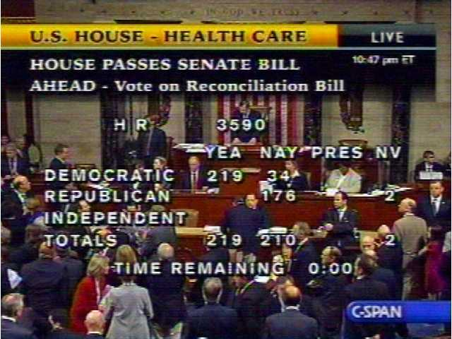 In this image made from video, the vote tally for House Resolution 3590, the Senate health care bill, is shown on Sunday, March 21, 2010.