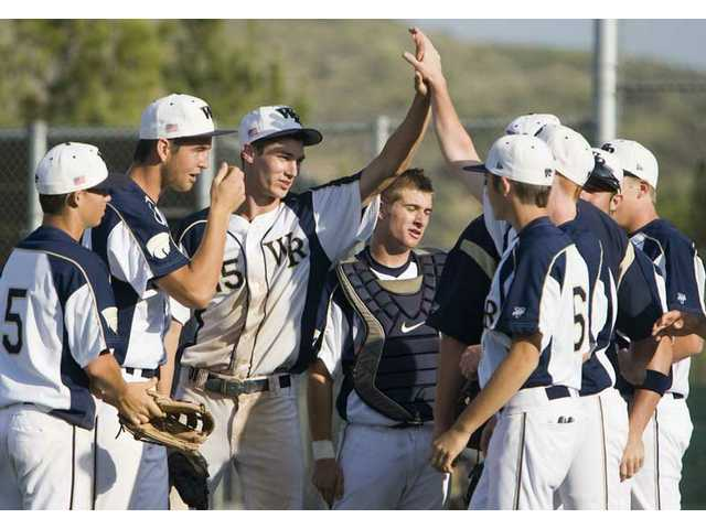 The West Ranch baseball team celebrates its 8-0 victory over Hart High Friday afternoon.