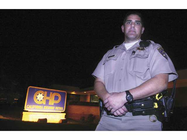 CHP Officer Adriaan Garcia from the Newhall area station stopped a woman from jumping off the Highway 14 crossover near Templin Highway.
