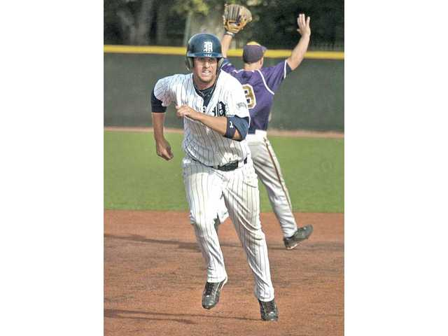 The Master's College's Steven Vranau heads for third base on Thursday at Reese Field.