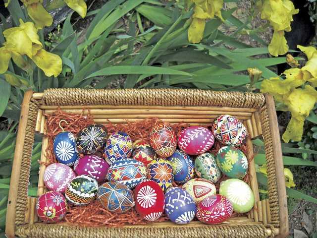 A basket of assorted Pysanky eggs, a wax-and-dye method of decoration that comes from Ukraine.