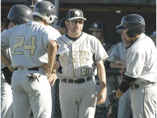 Golden Valley head baseball coach Scott Drootin (30) talks to his base runners during a timeout with the bases loaded Friday against Valencia. The first-year head coach has a core of young players he says is changing the team's climate.