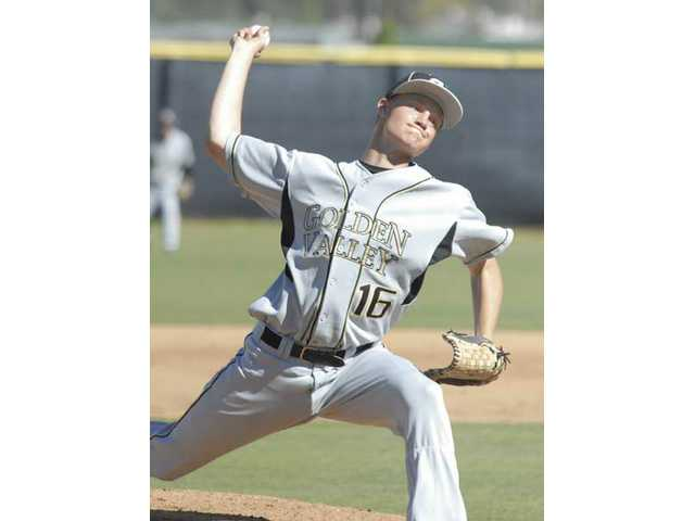 Golden Valley sophomore right-handed pitcher Josh Smith throws Friday against Valencia.