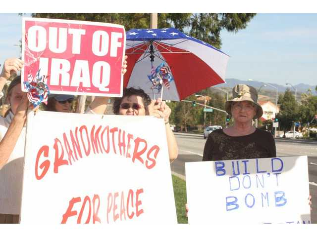 The Santa Clarita chapter of Grandmothers for Peace holds an anti-war demonstration the first Sunday of every month from 3 p.m. to 4 p.m. at the corner of McBean Parkway and Valencia Boulevard.
