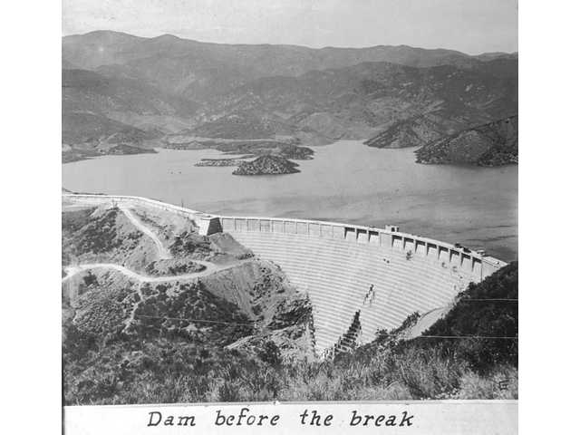 Aerial view of the leaking St. Francis Dam before the break.