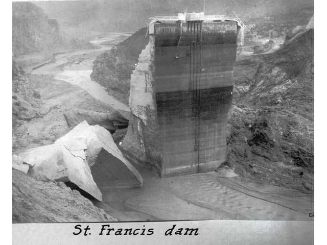 The St. Francis Dam after the catastrophic failure.