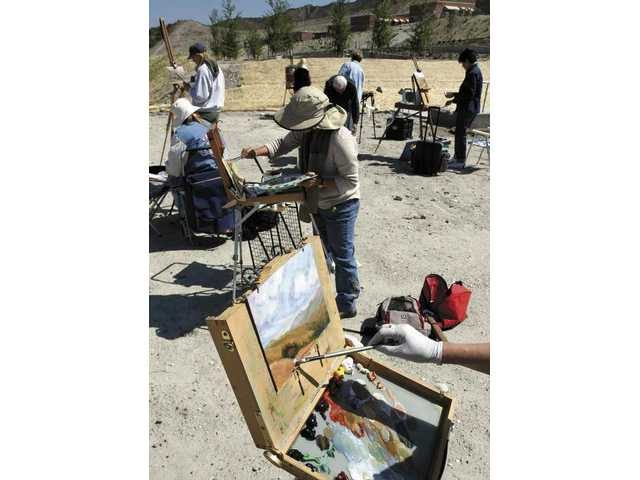 "The Santa Clarita Artists Association held a ""paint out"" Monday morning on the College of the Canyons Canyon Country campus."