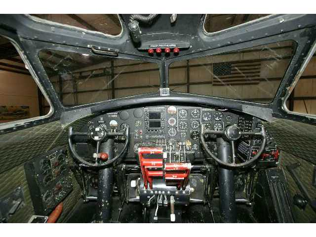 "A closer look at the ""Aluminum Overcast"" cockpit, taken when the B-17G Flying Fortress was hangared in Oshkosh, Wis., home of the Experimental Aviation Association."