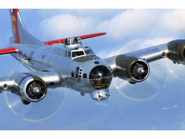 """""""Aluminum Overcast"""" in flight."""