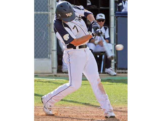 West Ranch's Chris Caldwell homers against Golden Valley Wednesday at West Ranch.