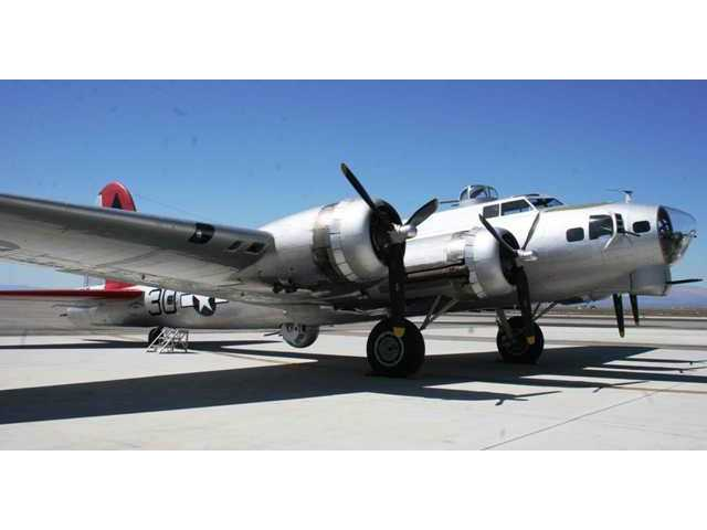 """""""Aluminum Overcast"""" sits on the tarmac atFox Airfield in Lancaster before taking flight Monday."""