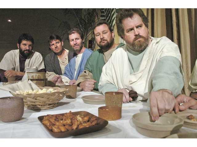 "Jesus' disciples from left, Thomas, Kurt Schreiner; Andrew, Dan Dudeck; Simon, Todd LeGassick; James, Bruce Bernstorff; and Judas, Lee Stillman, rehearse a scene of ""The Last Supper"" at Christ Lutheran Church."