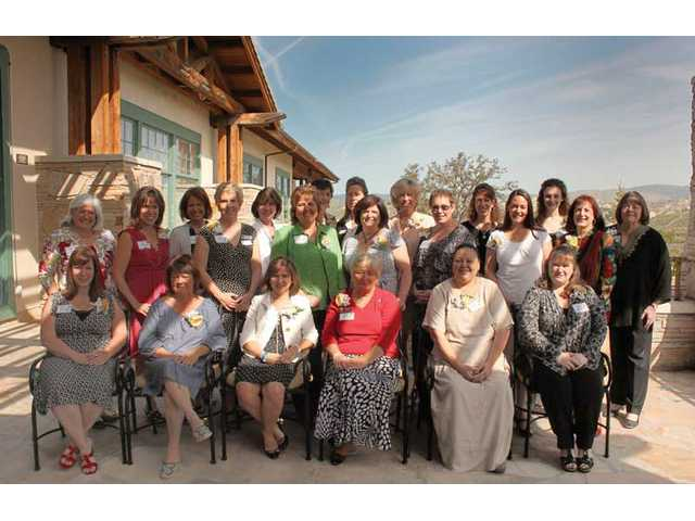 Nominees for the Carmen Sarro  Community Service award take a photo break at the beginning of Zonta's Women in Service ceremony held at Robinson Ranch in Sand Canyon. Shown are (front row, left to right) Wendy Downs, Corinn Miklosovic, Jeri Seratti Goldman, Christine Miller, Debbie Marquez, Dawn Abasta-Hovhannisyan  (middle row, left to right) Peggy Gelpi, Jackie Hamby, Maria Gutzeit, Jackie Hartmann, Deborah Estes, Doreen Hawbecker, Ellie Laks, Linda Cormack (back row, left to right) DaAnne Smith, Gerri McCorkle, Jan Fear, Melanie Sedam (standing in for Dora Zavala), Donna Kreutz, Michelle Witkin, Hannah Langley and Jami Kennedy. Not pictured are Jean Albrent and Lisa Kaminsky.
