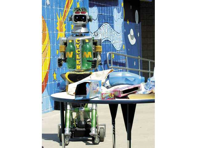 Cycler the robot talks to Rio Vista Elementary classes at Thursday's Environmental Awareness and Career Day.