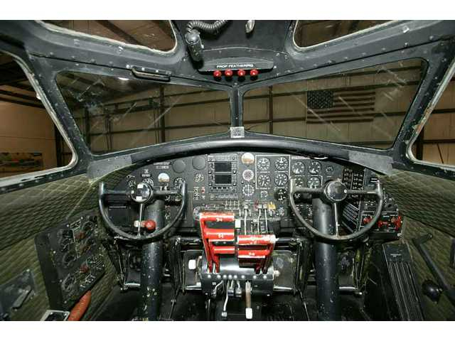 "A closer look at the ""Aluminum Overcast"" cockpit, taken when the B-17G Flying Fortress was hangared in Oshkosh, Wis., home of the Experimental Aircraft Association."