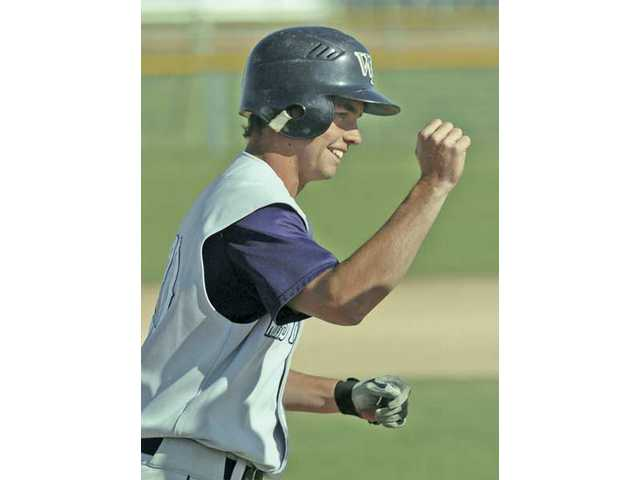 West Ranch's Mitchell Thompson celebrates after hitting his third home run of the game against Golden Valley Friday afternoon at Golden Valley High School. The Wildcats defeated the Grizzlies 22-2 after five innings.