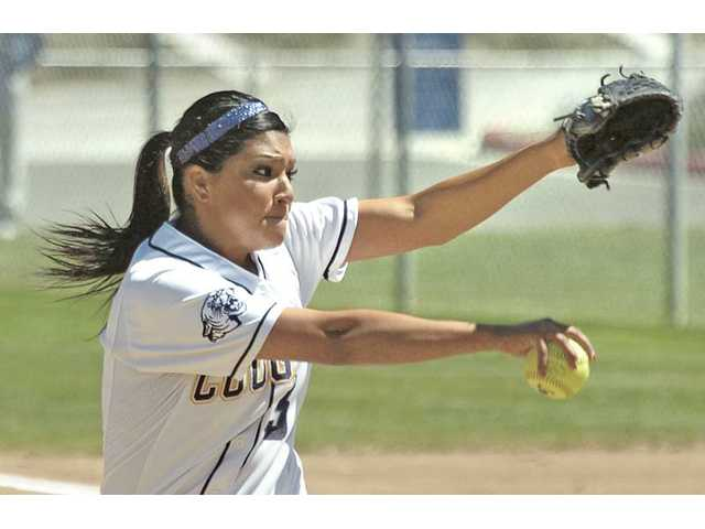 College of the Canyons' Ashley Imperial delivers a pitch on Tuesday at COC.