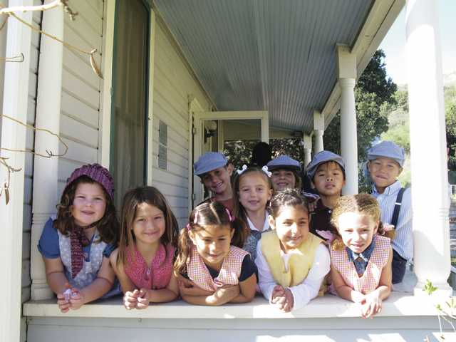 First-grade students from Mrs. Blue's class at Plum Canyon Elementary School enjoy a field trip to Heritage Junction at William S. Hart Park in Newhall.
