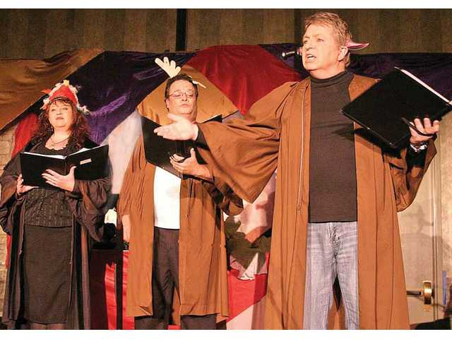 "From left, Catherine Simpson, Mike Andrews and Larry Wood portray all of the comic characters in ""The Very Incomplete Works of Wm. Shakespeare"" performed at the Midwinter Madrigal Feast."