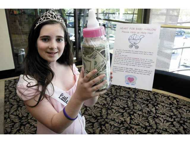 "Kids helping kids: Ashton Hoffman, 10, of Valencia, helps raise funds to aid a pregnant mom -- another reason Ashton deserves her ""Little Miss Queen Valencia"" pageant title."